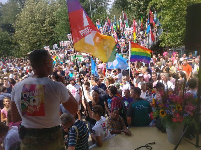 Speakers at Pride Walk 2018 included the Canadian ambassador, Sabine Nölke, and protest organizer Hans Verhoeven. (Photo courtesy of Pride Walk)