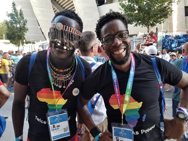 Kelvin Washiko (left) models his Maasai-inspired attire while Kevin Mwachiro (right) just smiles at the Gay Games in Paris. (Cyd Zeigler photo courtesy of OutSports.com)