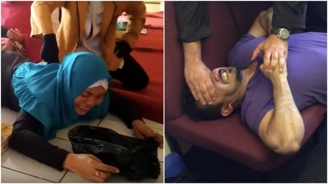 Ruqyah rituals (Photos courtesy of damssein Medika (left) and Saj Muslim/The Ruqya Services via YouTube and Vice)